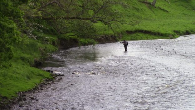 Simon Barton fishing a small pool